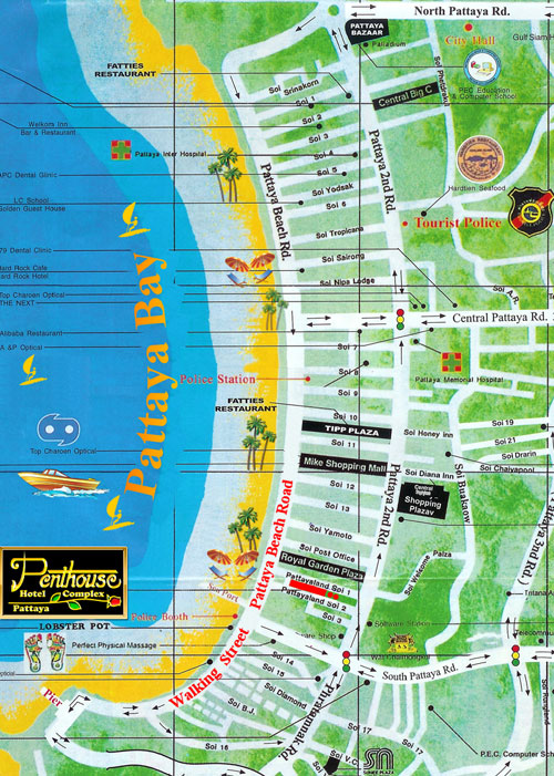 Map of Penthouse Boutique Hotel Pattaya City Beach Resort in Soi Pattayaland on Beach Road near Walking Street and Jomtien.