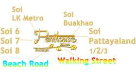 Penthouse Hotel is located in the center of Pattaya's nightlife attractions, Soi LK Metro, Soi Buakhao, Soi 6, 7, 8 on Beach Road, Walking Street and Soi Pattayaland.