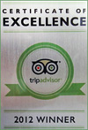 Trip Advisor 2012 Winner - Certificate of Excellence awarded to The Penthouse Hotel