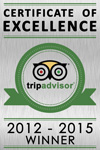 Trip Advisor 2012, 2013, 2014 and 2015 Winner - Certificate of Excellence awarded to The Penthouse Hotel