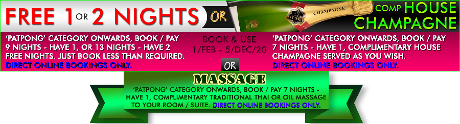 Stay 9 Nights and Get 1 Night Free, Stay 13 Nights and Get 2 Nights Free OR Stay 7 Nights and Get 1 Bottle of House Champagne Free in our Nightclubs OR Stay 7 Nights and Get a Traditional Thai Massage or Oil Massage free during your holiday in Penthouse Pattaya Hotels. Special Offer only for Direct Online Bookings!